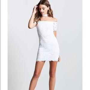 NWT Off-Shoulder Choker Dress, Fit S-M, White Lace